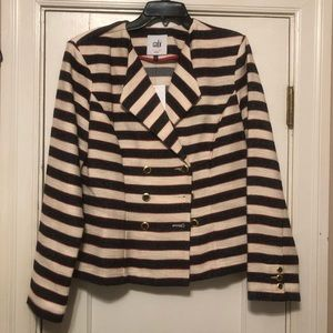 Cabi Navy & Cream Striped Blazer